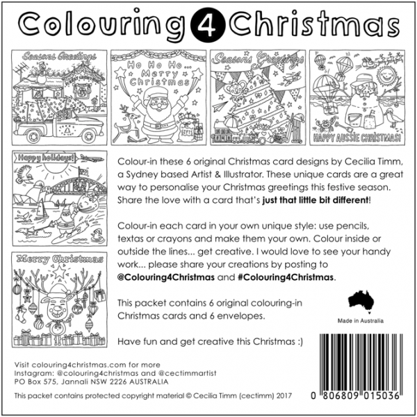 Colouring4Christmas Greeting Christmas Cards Back Cover cectimm Cecilia Timm
