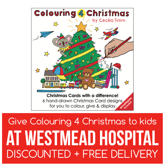 Colouring 4 Christmas Christmas Cards Give to kids at Westmead Childrens Hospital