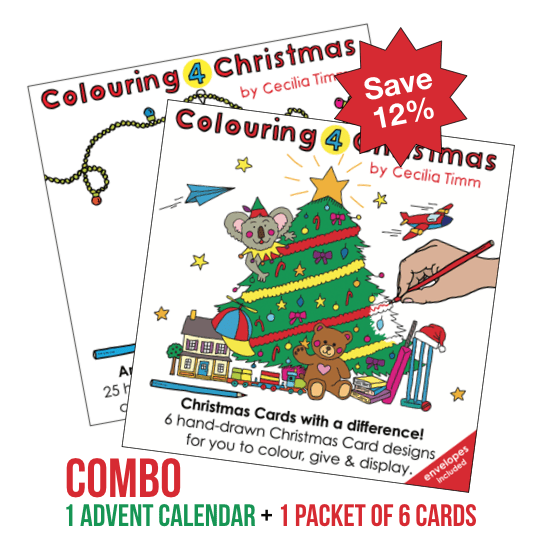 Colouring 4 Christmas Single Combo Pack Colouringin color cards advent calendar kids children