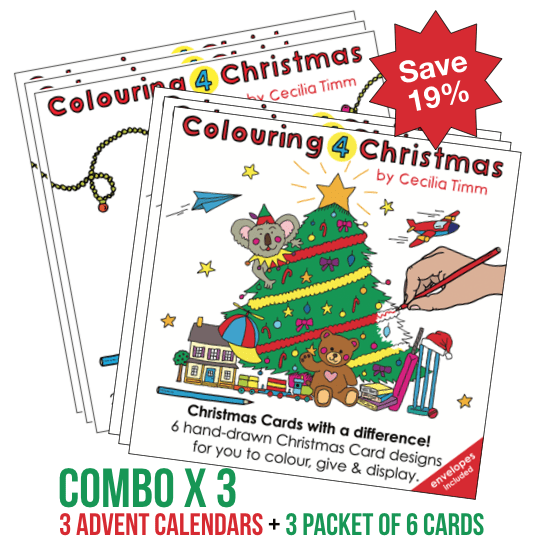 Colouring 4 Christmas Triple 3 Combo Pack Colouringin color cards advent calendar kids children